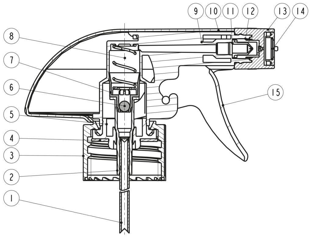 نقشه پمپ اسپری تریگر(تفنگی،ماشه ای)